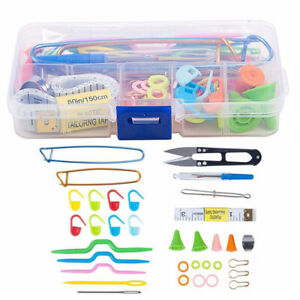 56pcs Knitting Crochet Sewing Accessories Supplies Tool Kit w/ Storage Case