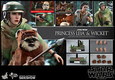 Hot Toys Star Wars ROTJ Return of Jedi Princess Leia Ewok Wicket 1/6 Set In Hand