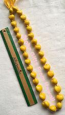 "Hawaiian Real Kukui Nut Necklace Colored Yellow 32"" Leis  Hawaii Hula Graduation"