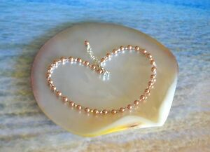Sexy Rose Gold Crystal Pearl and Crystal Bead on Silver Anklet 9 to 11 inches