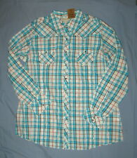 Ariat Puebla Snap Front Fitted Western Cowgirl Shirt Top Turquoise Plaid XXL NWT
