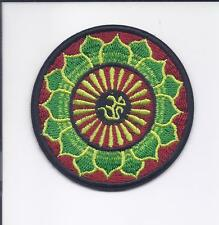 "3"" Green & Red Lotus Flower Om Iron On patch infinity hindu indian ॐ patches"