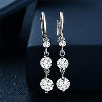 Women Fashion Silver Plated Cubic Zirconia Drop/Dangle Ear Hoop Huggie Earrings