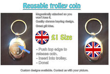 Great Britain, Union Jack/Flag - REUSABLE £1 SHOPPING TROLLEY TOKEN - GREAT GIFT