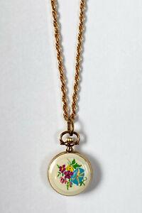 Vintage Women's Gold-Tone Pendant Watch w Floral Flower Enamel Design M I France