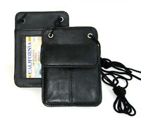 Black Leather ID Badge Card Holder Wallet Neck Strap Travel Work Lanyard
