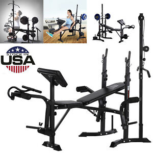 Olympic Workout Weight Lifting Bench,Adjustable Folding Incline Decline Flat Gym