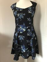 Asos Navy Floral Sleeveless Fit & Flare Skater Dress Size 10 Cut Out Back BNWT