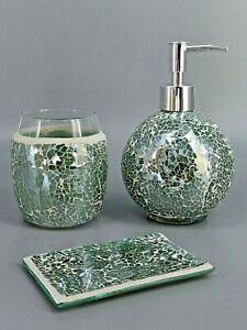 G Decor Three Piece Corfu Mosaic Emerald Bathroom Set