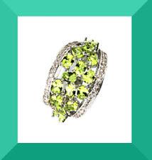 New Green Peridot & White CZ Silver Cocktail Ring SZ 7 FREE SHIPPING # 172