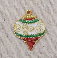 Small Onion Bulb Christmas Ornament - Iron on Applique/Embroidered Patch