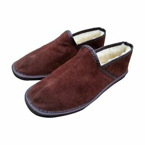 Men's Slippers Sheepskin Wool Brown Leather Shoes Size UK 6.5-11 Luxury Scuffs