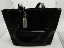 Black VIP Faux Leather Tote Bag Bath Body Works Silver Tassel, Key NWT