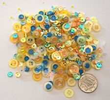NO 561 Scrapbooking - 100+ Yellow Buttons Beads / Sequins - Embellishments
