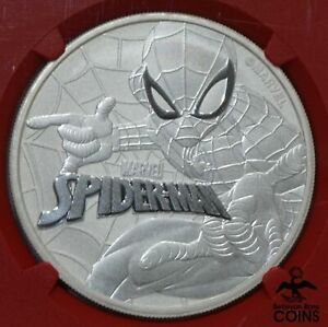 2017 Tuvalu $1 Spider-Man 1oz Silver .999 Coin NGC MS70 1st Release w/ Pouch