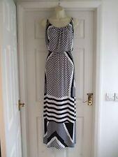 Da Donna Taglia 12/14 Nero & Bianco Maxi abito estivo partito sexy senza maniche