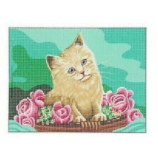 Kit canevas chat fleurs toile coton + aiguille + fils enfants broderie couture