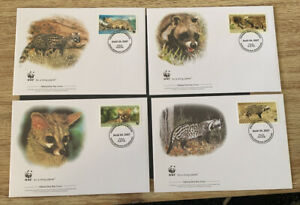 2007 African Civet & Common Genet WWF FDC & Stamps MUH Republic Central Africa