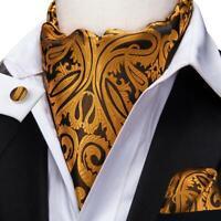 Gold Brown Paisley Mens Silk Ascot Cravat Tie Set Business Jacquard Woven