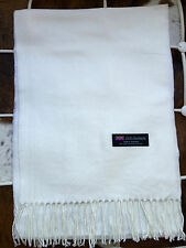 Unisex 100% Cashmere Scarf SNOW WHITE Solid Made in Scotland SOFT Warm NEW Soft