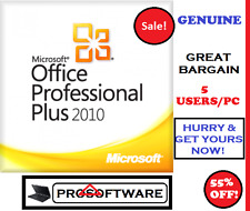 GENUINE Microsoft Office Professional Plus 2010 Pro Plus Licence Key 5 Users/PC
