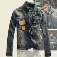 Fashion Men Boy Slim Fit Jean Coat Jacket Classic Retro Denim Jacket Outerwear