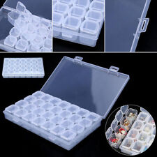 Clear Plastic 28 Slots Adjustable Jewelry Storage Box Case Bead Crafts Organizer
