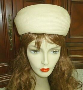 Cream Vintage Straw Hat w Bow Cute Beanie Cap Style by El Patio Apparel Size 7