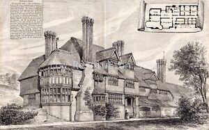 Antique Print,Hopedene,Surrey,Norman Shaw,Architect,Building News,1874