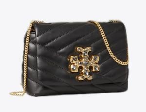 Tory Burch Kira Quilted Chevron Black Crossbody Mini Jewel T Logo New Authentic