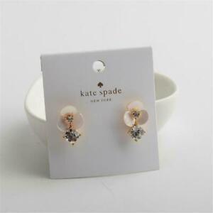 Kate Spade New York Disco Pansy Drop Stud Earrings Gold tone