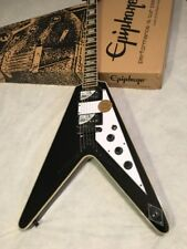 Epiphone Flying V Custom Limited Edition Electric Guitar - Ebony/ Black Bolt