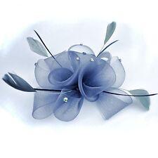 Fascinator épingle Fleur Plumes Strass Parure pour cheveux gris Pince à Broche