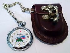 Vintage Russian Kauahguyckue Pocket Watch Stainless Steel Military Clip Holder