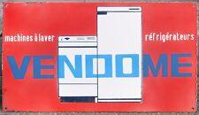 French Enamel Construction en acier signe plaque VENDOME machines à laver Frigos 1960 S