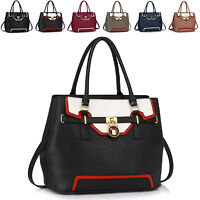 Designer Padlock Faux Leather Ladies Womens Shoulder Bag Cross Body Handbag Tote