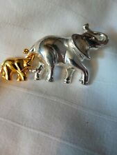 Gold And Silver Tone Mother And Baby Elephant Pin