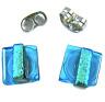 "DICHROIC Post EARRINGS 1/4"" 8mm Aqua Blue Square Green Stripe Tiny GLASS STUDS"