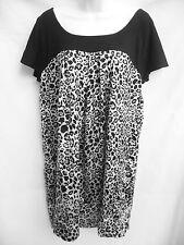 MICHAEL KORS Womens Black White Silver Silk Leopard Boho Tunic Shirt Dress M 6 8