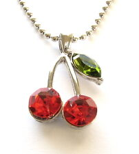 "RED HOT JUICY CHERRIES CRYSTAL NECKLACE PENDANT 16""-18"""