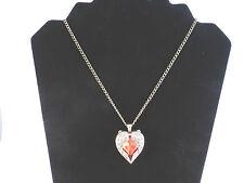 Ladies Vintage Style Red Rhinestone Heart Encased in Wings Necklace