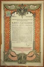 ÖSTERREICH AUSTRIA 3. Kriegsanleihe 1.000 Kronen 1915 Austrian War Loan