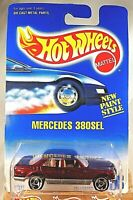 1991 Hot Wheels Blue/White Card #253 MERCEDES 380SEL Dark Red/Silver w/SB Spokes