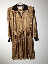 Francesca Of Damon For Starington Golden Brown Silk Dress Size 10 Vintage
