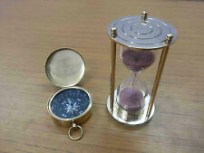 Nautical Brass Sand Timer Vintage Lid Compass Collectible