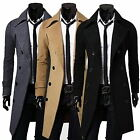 Stylish Men Winter Slim Trench Coat Double Breasted Long Jacket Overcoat Outwear