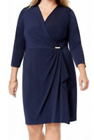 Charter Club Women's Plus Blue 3/4 Sleeve V Neck Faux Wrap Dress Size 0X