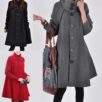 Womens Winter Warm Long Overcoat Trench Cloak Ladies High Neck Coat Jacket 8-20