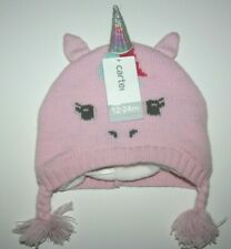 Carter's baby Unicorn Pink Hat Beanie Winter Warm Size: 12-24months New NWT