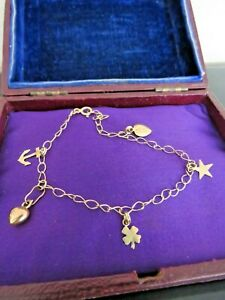 Vintage 14ct 14k 585 Yellow Gold Link Chain Charm Bracelet